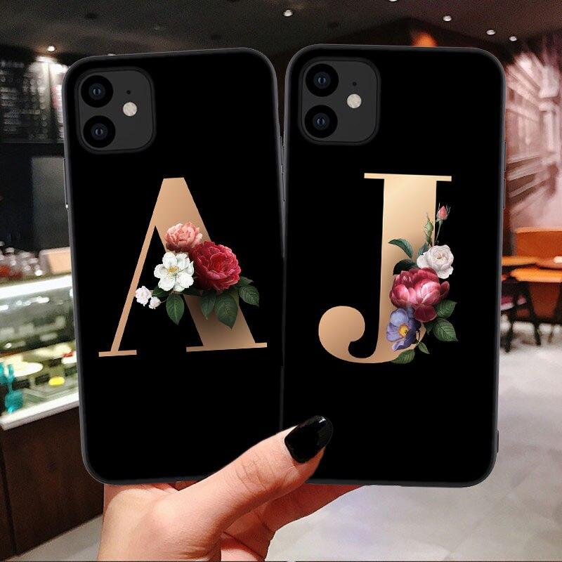 Para Huawei S11 E P8L P8 LITE G9L P9 P10 Plus P20 PRO, bolso de funda de teléfono móvil con letras de flores personalizadas, carcasa