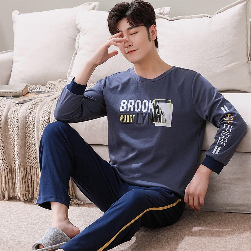 100% 25 хлопок пижама комплекты для мужчин осень зима свободные одежда для сна костюм мода принт пижама длинный рукав пижамы% 2BКлетка брюки домашняя одежда