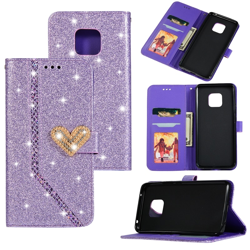 For Huawei Mate 20 Lite Pro TPU Flip Funda Wallet Phone Case Luxury Leather Glitter Case for Huawei Mate 20 Case Back Cover