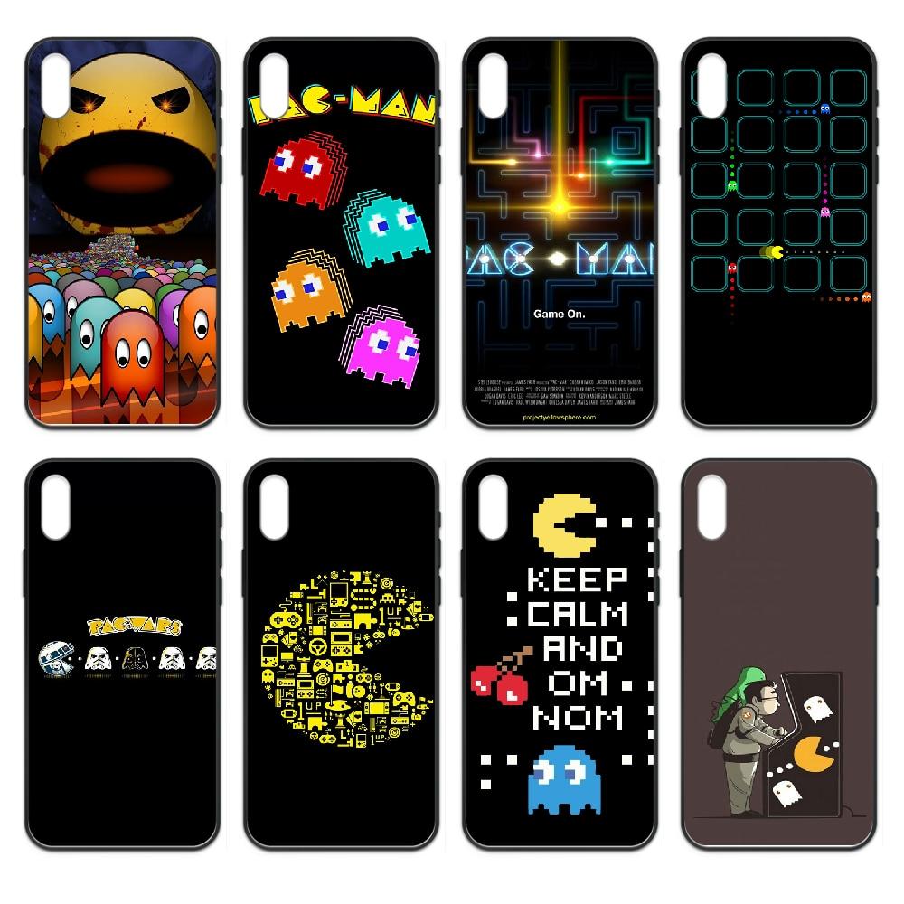 Juego Arcade pac-man Pacman cubierta de la caja del teléfono casco para iphone 4 4s 5 5S SE 5C 6 6S 7 8 plus X XS XR 11 PRO MAX 2020 negro funda