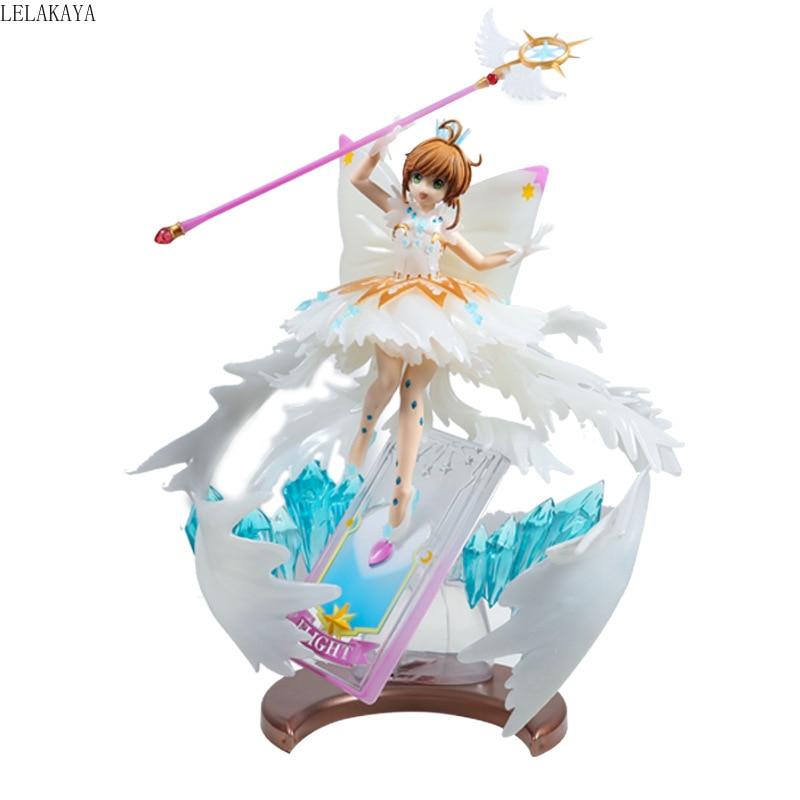 Nueva llegada Anime tarjeta Captor Sakura claro la tarjeta de Clow KINOMOTO SAKURA con varita mágica chicas Sexy PVC MODELO DE figura de acción Juguetes