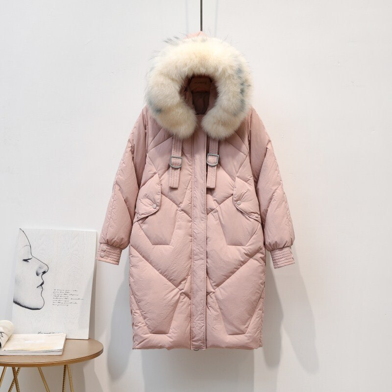 New Real Medium Long Winter Women White Duck Jacket Fox Fur Collar Hooded Coats Warm Thicken Down Parka