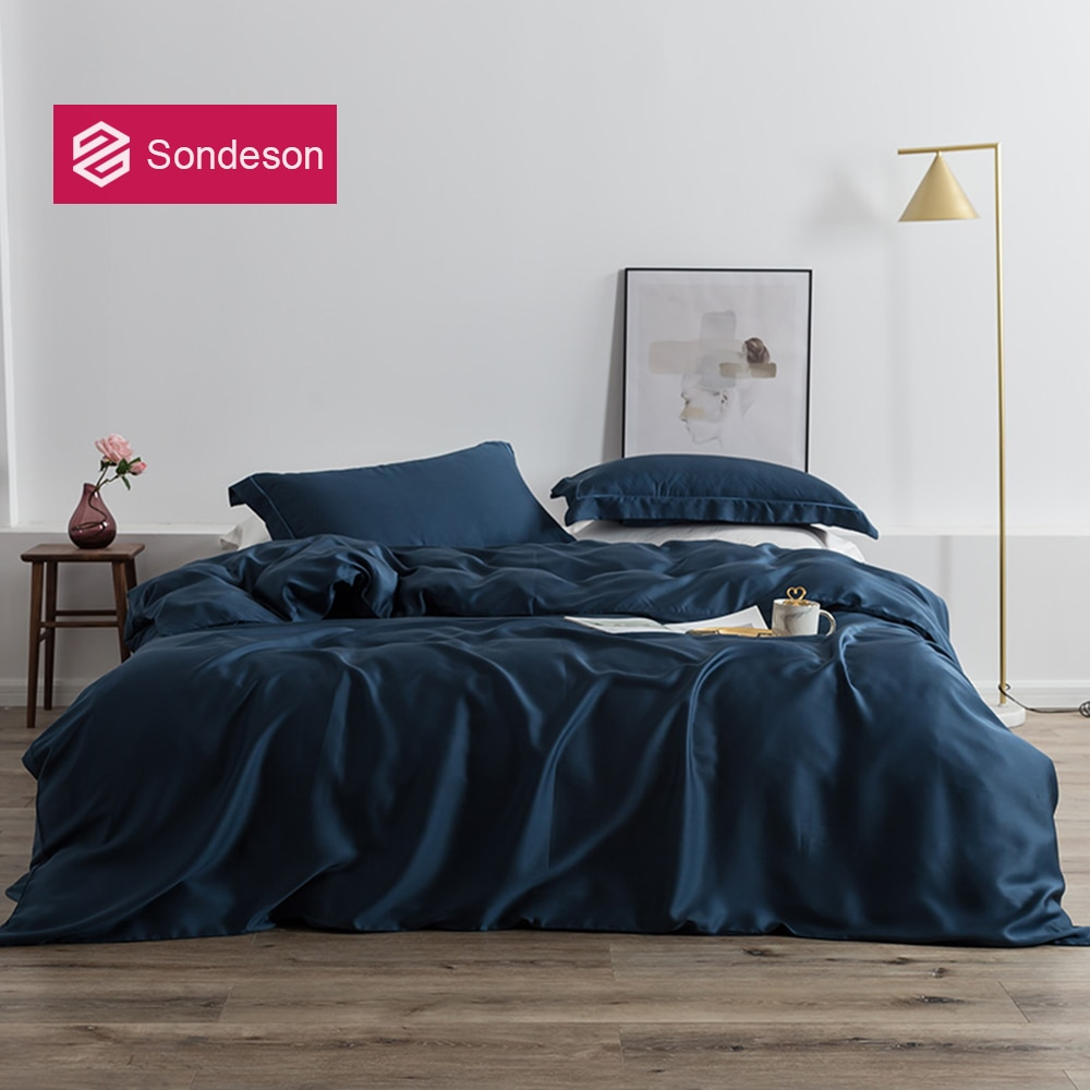 Conjunto de Cama Fronha para Dormir Sondeson Luxo Seda Azul Escuro Pele Saudável Rainha Rei Capa Edredão Conjunto Folha Plana 100%