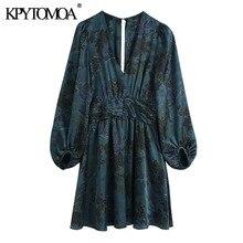 KPYTOMOA femmes 2020 Chic mode avec drapé taille impression Mini robe Vintage col en V à manches longues robes féminines Vestidos Mujer
