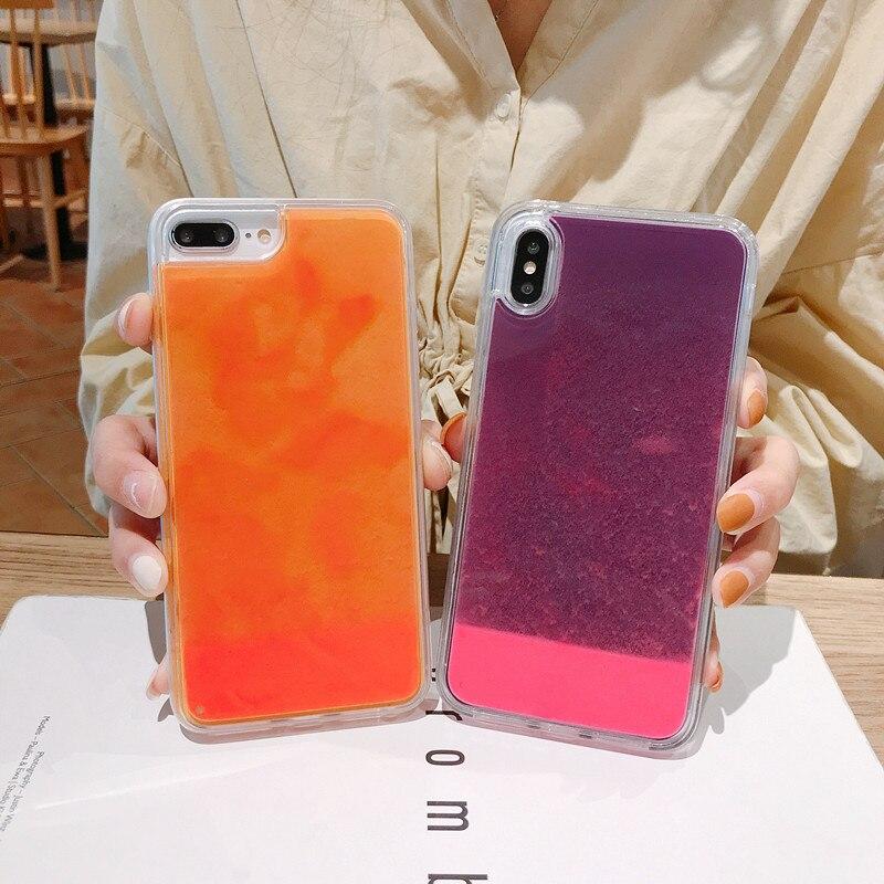 עבור iphone 11 זוהר ניאון חול נייד מקרה עבור iPhone XR XS מקסימום 6 6s 7 8 בתוספת זוהר בחושך נוזלי גליטר חול טובעני כיסוי