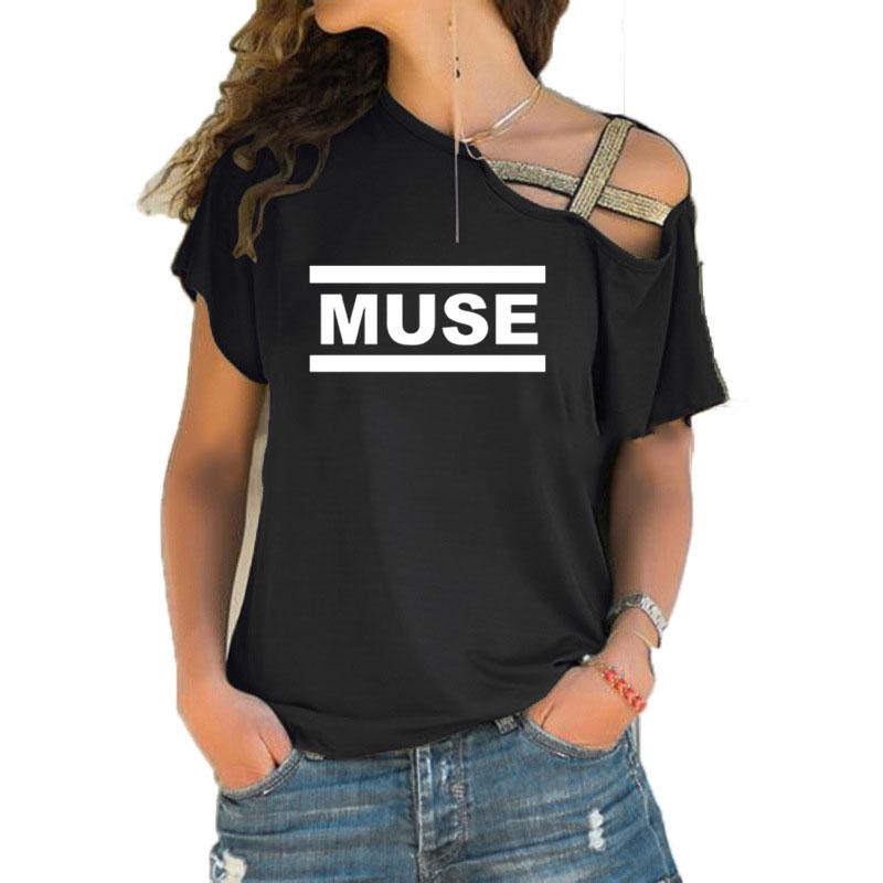 Muse футболки женские muse футболки летние с коротким рукавом Хлопок Нерегулярные Skew Крест повязки футболки топы рок группа футболки повседневная одежда