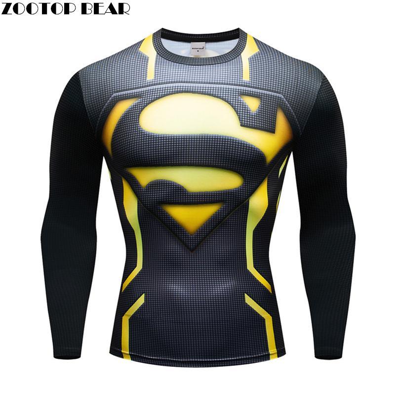 Superhéroe hombre Camiseta hombres camisa de Fitness hombres Superman manga larga hombres Fitness Hombre Camisetas culturismo Top Cosplay