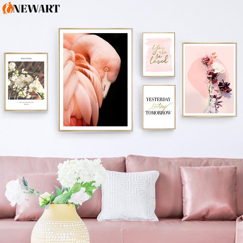 Pintura moderna Ins, póster en lienzo con estampado de flamenco y flores, arte de pared nórdico, sala de estar Decoración Para, decoración de pared de habitación, imagen decorativa
