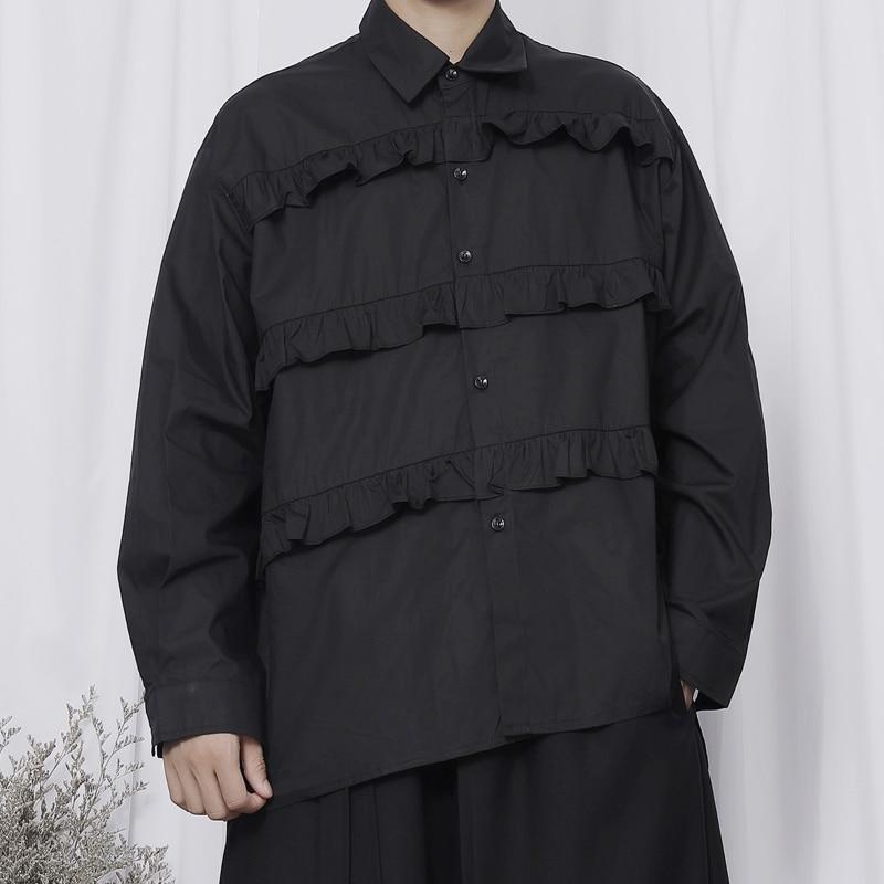 قميص رجالي طويل الأكمام أوائل الخريف 2021 جديد ياماموتو هيم داكن خياطة غير متماثلة فضفاضة كم طويل قميص غير رسمي