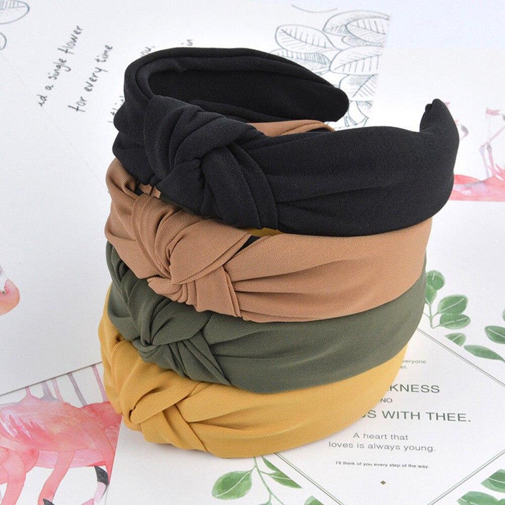 Serre-tête tricoté en velours pour filles   1 pièce, bandeau à nœud croisé solide, accessoires pour cheveux, bandeau torsadé # YL5