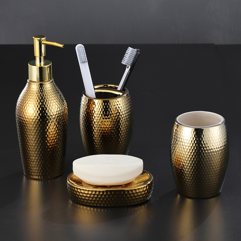 4 pcs/ lot Nordic golden ceramic wash set Bathroom Accessories Soap Dispenser Toothbrush Holder Bathroom Supplies WF enlarge