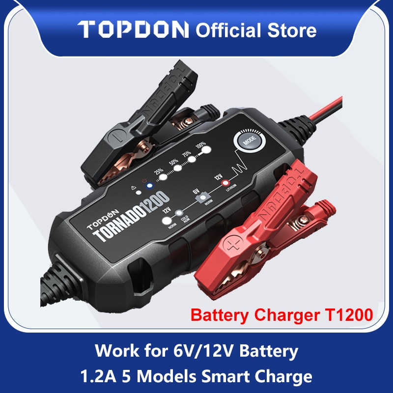 12v automatic lead acid battery charger 20a 12v Topdon T1200 Automatic Battery Chargers 6V 12V Car Battery Charger Motorcycle Battery Chargers for Lead Acid Lithium Battery