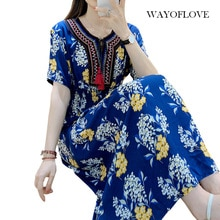 WAYOFLOVE Fashion Floral Print Blue Dress Women 2021 Tassel Prom Casual Vintage Long Dresses Summer