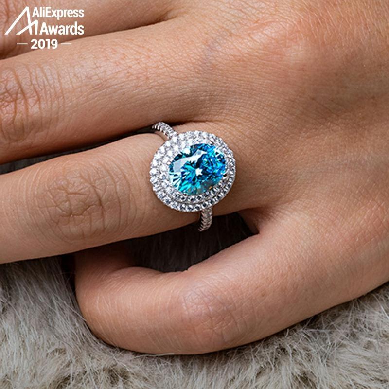 6.18 Sale oval cut 8*10mm S925 Fine Jewelry  sterling silver ring Lab-created  diamond  wedding citrine sapphire amethyst ruby