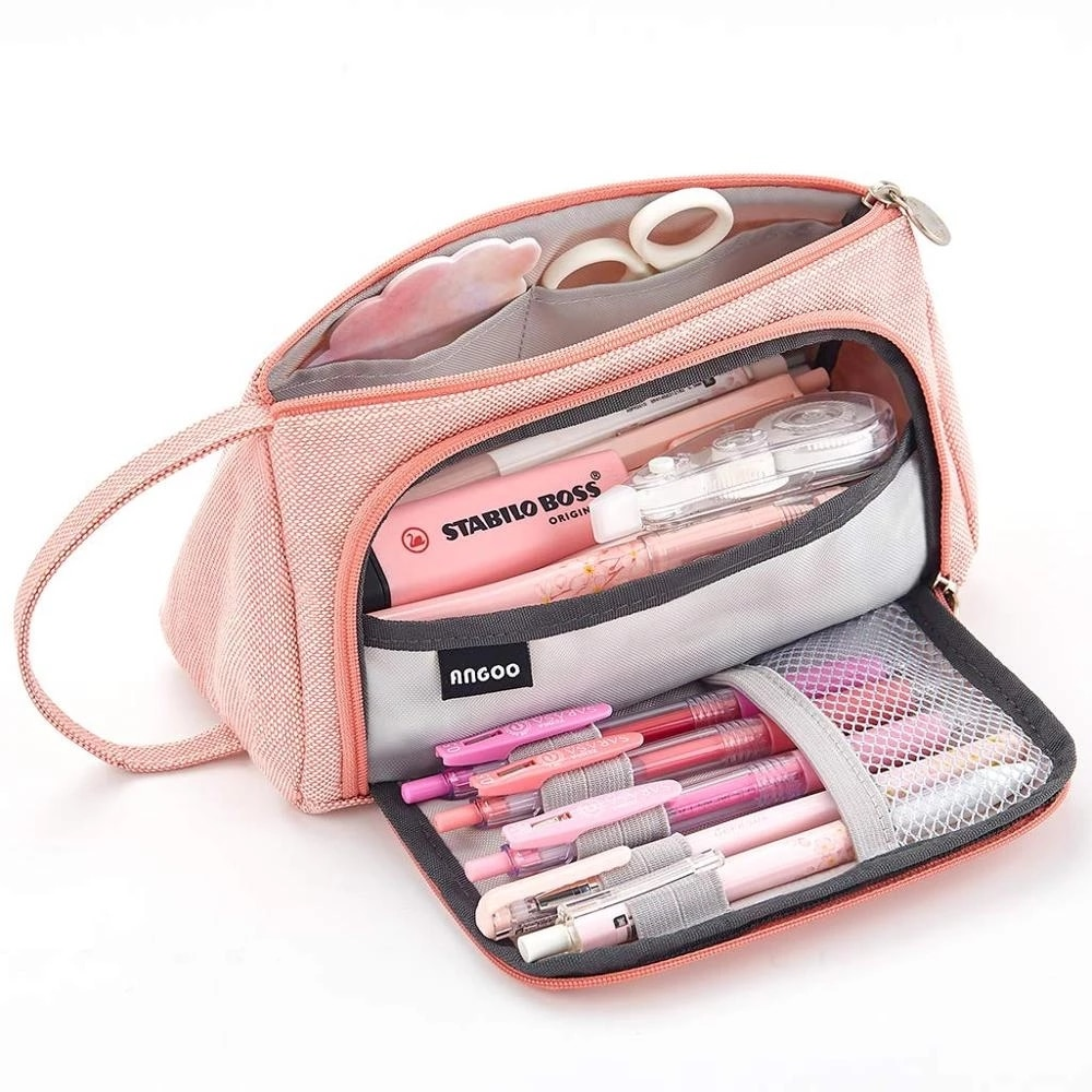 Pink Pencil Bag Solid Color Stationery Organizer for School Girls Pen Pouch Holder Canvas Office Supplies Makeup Case Gift Box