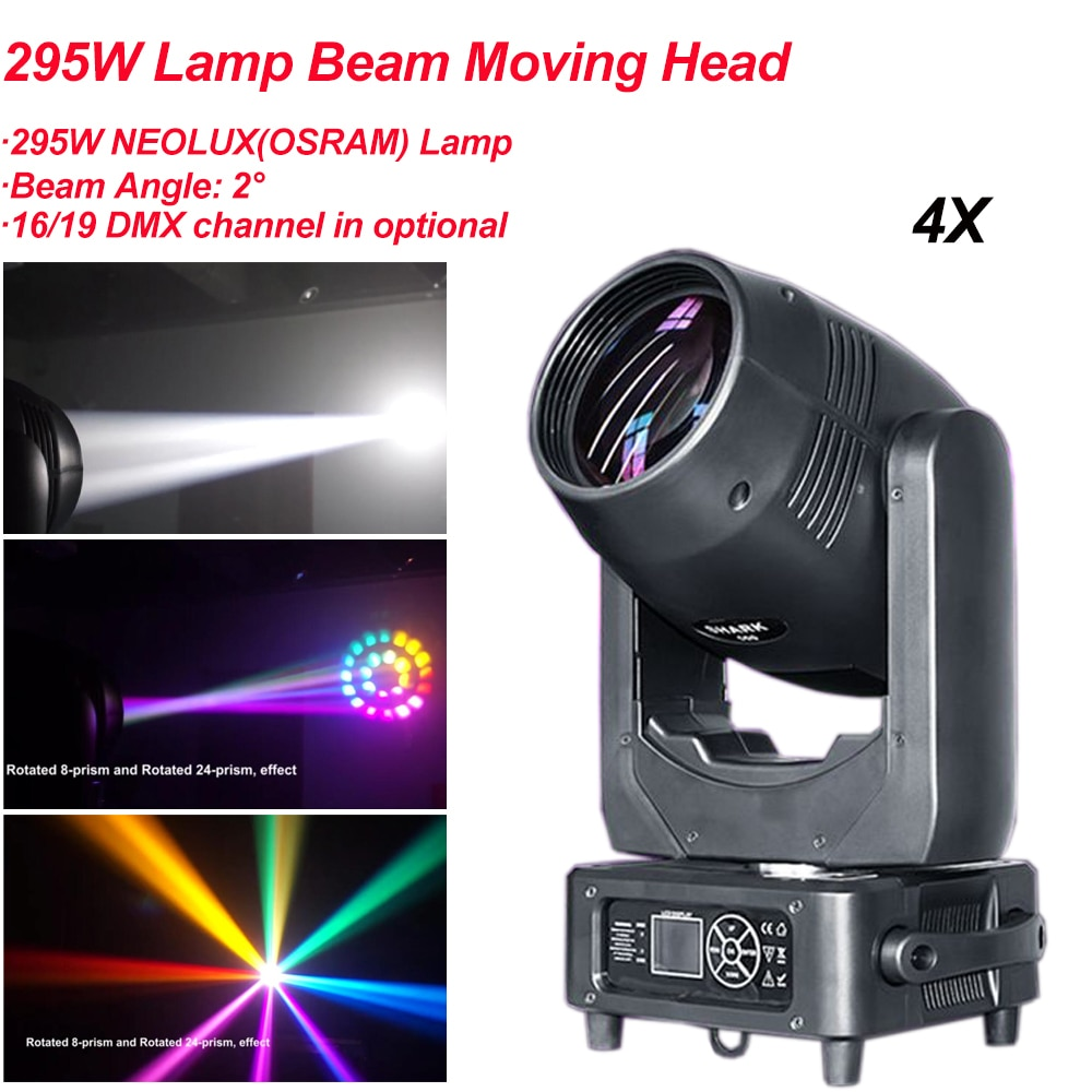 new 19 15w four in one led focus bee eye moving head light dmx512 wedding bar show ktv stage lighting ac100v 240v 50 60hz 450w 4Pcs/Lot 295W Beam Moving Head Light With Focus Frost and Rainbow DMX512 LED Effect Beam Dj Disco Bar Light Show Stage Lighting
