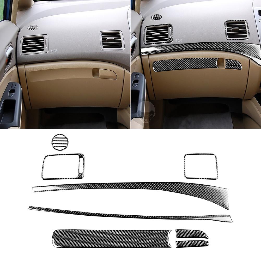 8pcs Carbon Fiber Passenger Dashboard Trim Cover Stickers for Honda Civic 8th Gen 06-11 Automotive Interior Stickers