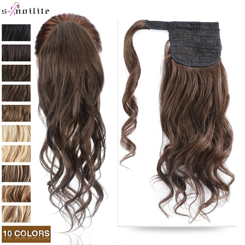 S-noilite Ponytail Human Hair Velcro Wavy Ponytail Hair Extensions Natural Human Hair Wrap Around 18inch 90g Hairpieces Clip In