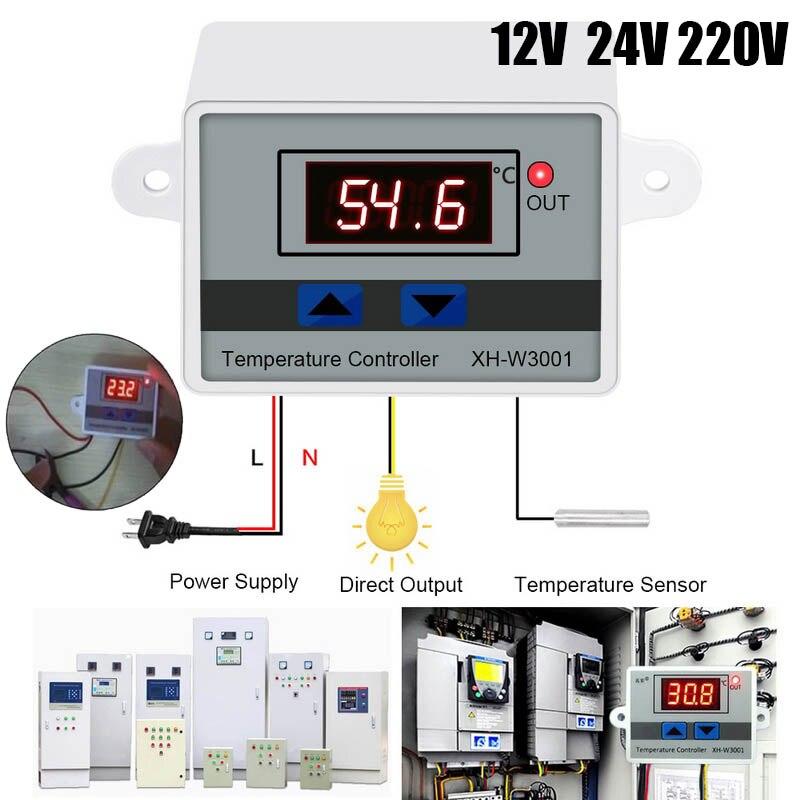 W3001 цифровой Температура контроллер термостат W3001 110V 220V 12V 24V терморегулятор инкубатор для аквариума температура регулятора Приборы для измерения температуры      АлиЭкспресс