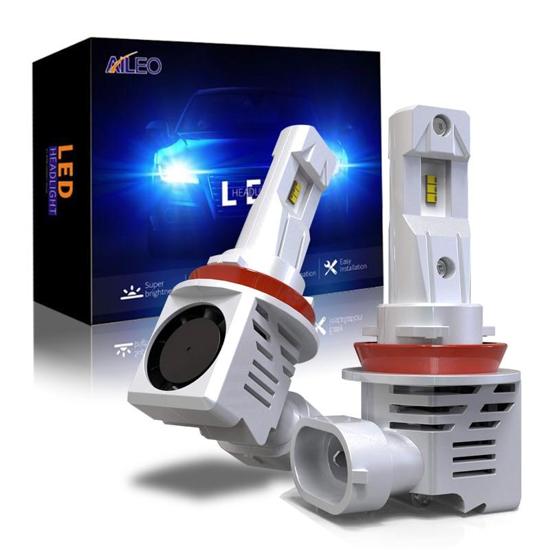 AILEO-لمبة المصابيح الأمامية للسيارة ، H11 LED H8 H9 H16(jp) HB3 HB4 9005 9006 12000 لومن ، التوصيل والتشغيل ، مشرق للغاية ، 6000 كيلو ، رقائق ZES 12 فولت 24 فولت