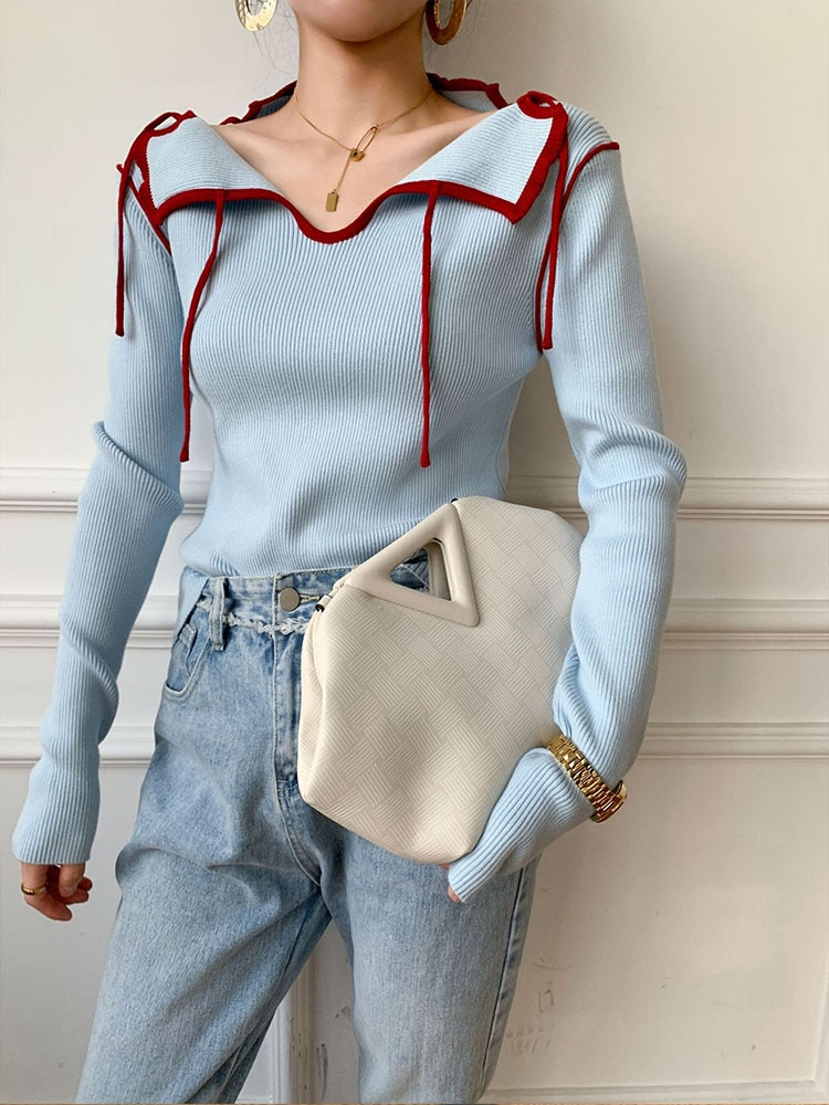 Womens Slim-fit Knitted Sweater Long-Sleeve V Neck Office Lady Solid Color Knitted Top Pullover Tops enlarge