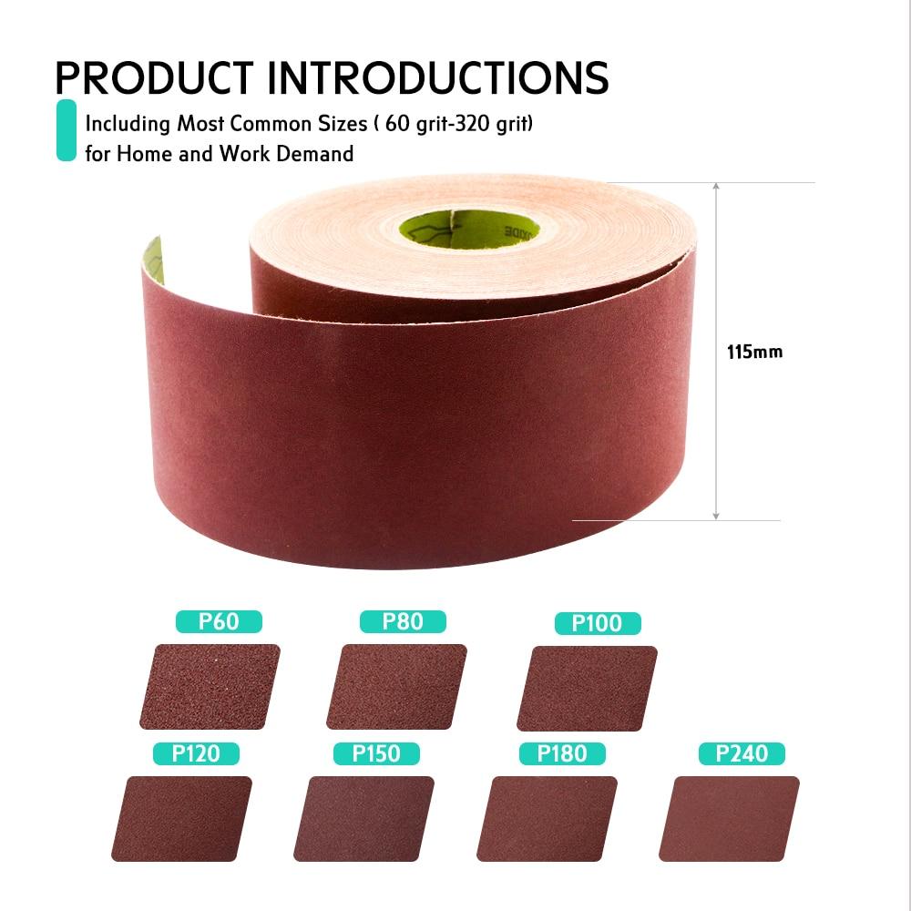 Drywall Sanding Screen Cloth Roll 50 Meters for grinding head sander tool 80 grit Width 115mm Wall Putty Wood Polishing