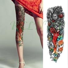 Waterproof Temporary Tattoo Sticker flowers sea star fish pocket watch full arm big fake tatto flash tatoo for men women girl