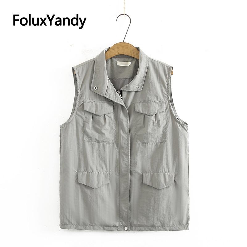 Повседневная Женская жилетка с карманами, свободная жилетка без рукавов, весенне-осенние пальто, верхняя одежда 3XL 4XL KKFY5717