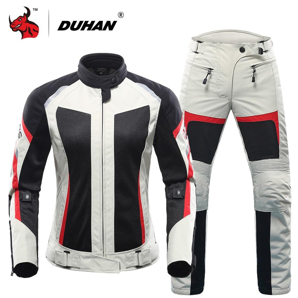 ملابس للسيدات من DUHAN للصيف سترات واقية للدرجات النارية مزودة بشبكة تسمح بالتهوية ملابس سباق الدراجات النارية