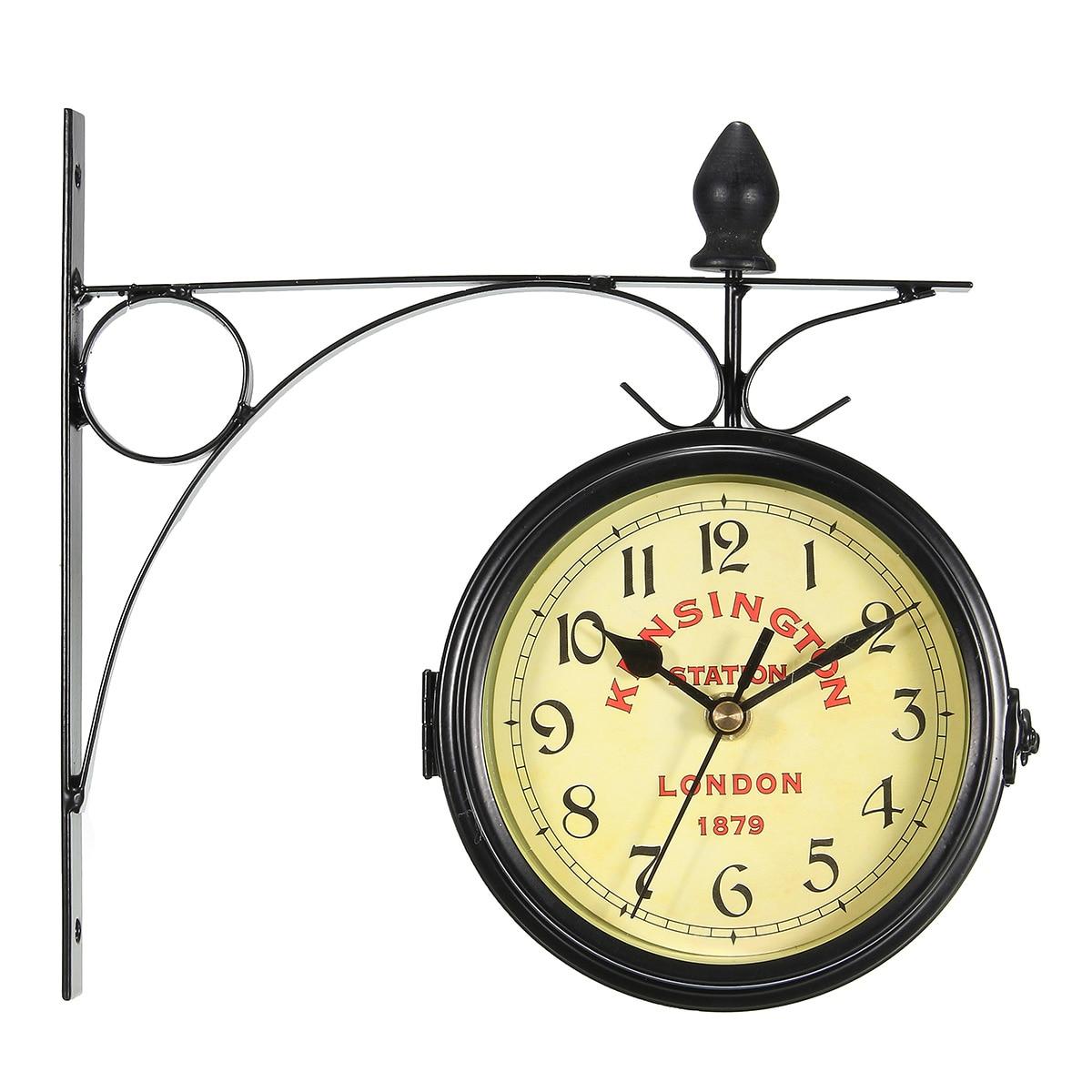 Charminer decorativo do vintage dupla face relógio de parede de metal estilo antigo estação relógio de parede pendurado preto