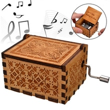 1pc Hand Cranked Wooden Music Box