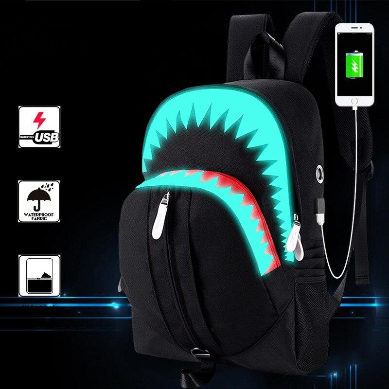 CC · MeiLun hombres de moda USB de carga de noche luminosa mochila tiburón Laptop mochila bolso para el pecho adolescentes bolsa de escuela negro