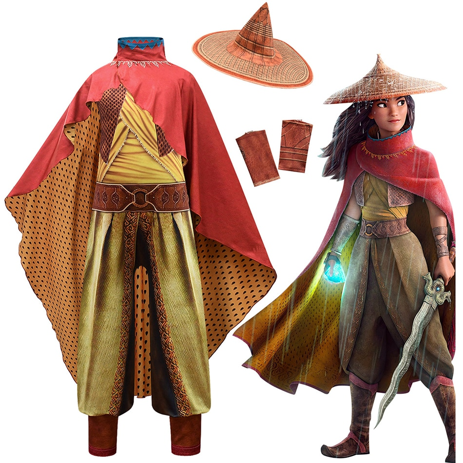 Kids Cosplay Disney Raya And The Last Dragon Costume Raya Fancy Set Children's Performance Outfit Cloak Princess Dress Up the positively last performance