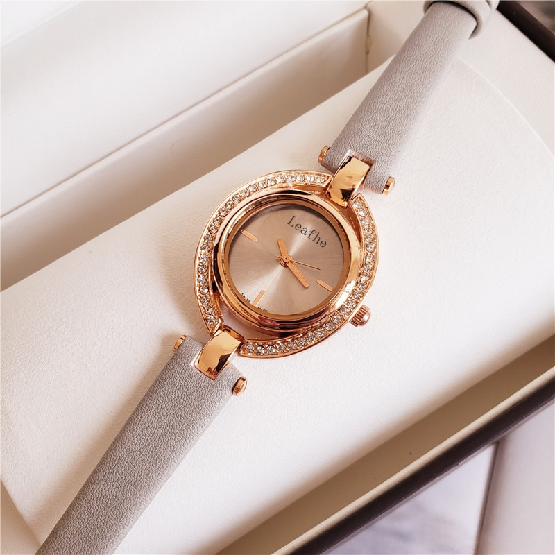 Fashion Diamond Ladies Watches Leather Strap Stainless Steel Dial Quartz Watch Girl women Favorite Black Clock uhr orologio enlarge