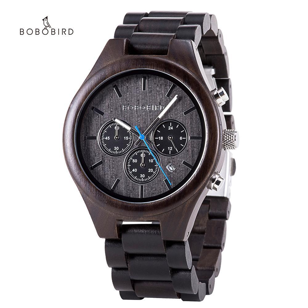 ساعة رجالية خشبية من Reloj hombre BOBO BIRD ساعة معصم كوارتز فاخرة من أفضل العلامات التجارية كرونوغراف ساعات رجالية هدية 2020