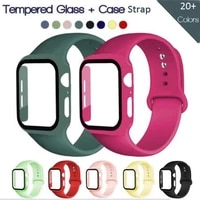 glass filmpc casesilicone strap for apple watch band 44mm 40mm 42mm 38mm rubber band bracelet for iwatch series 6 se 5 4 3 2