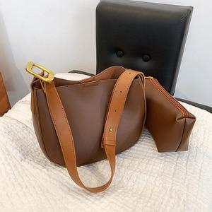 Vintage PU Leather Bucket Shoulder Bags for Women 2021 New Winter Simple Casual Female Designer Composite Bag Handbag and Purses