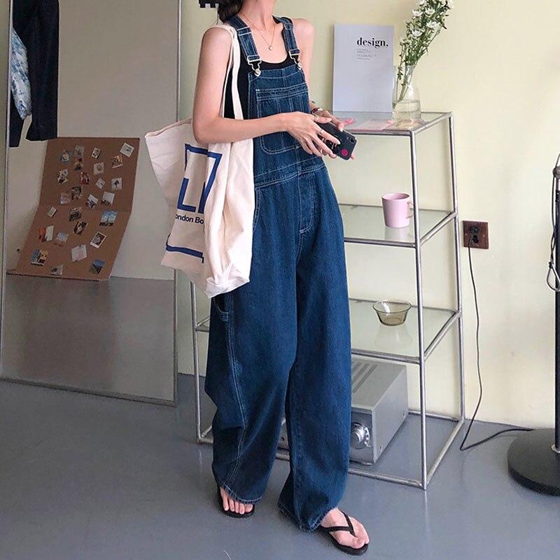 Джинсовый комбинезон женский 2021 #, свободные винтажные брюки с широкими штанинами, повседневный свободный джинсовый комбинезон в Корейском...