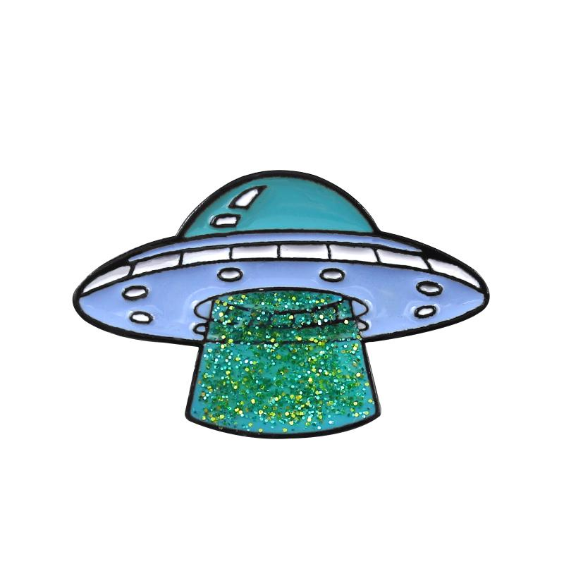 De dibujos animados broche insignia amantes Pin creativo volar barco alienígena OVNI...