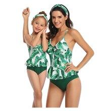 Maillot de bain imprimé pour mère et fille   Ensemble Bikini, costume de bain, feuille, tenue assortie pour famille, nouvelle collection, été 2020
