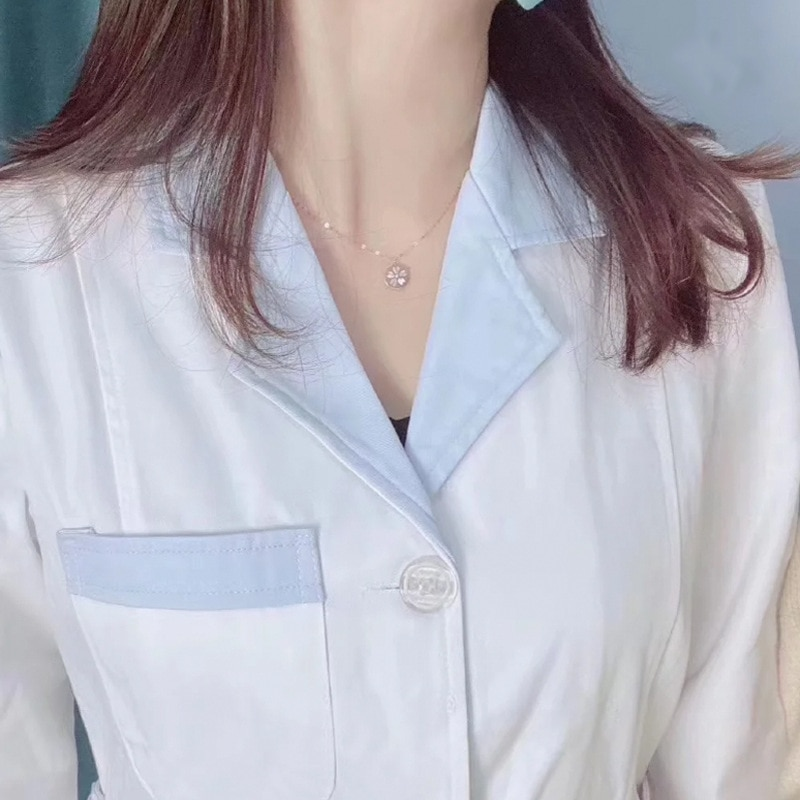 Delicate Cherry Blossom Necklace 925 Sterling Silver Clear CZ Statement Jewelry for Women Heart-shaped Collarbone Chain Choker