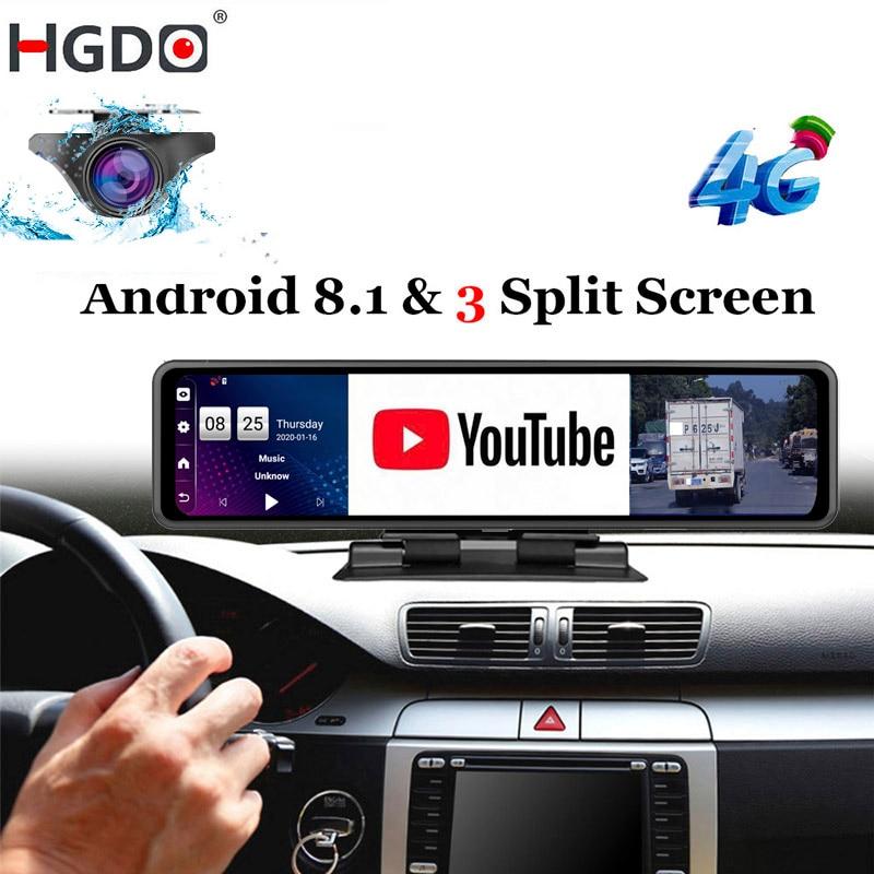 HGDO 12'' Car DVR Dashboard Camera  Android 8.1 4G ADAS Rear View Mirror Video Recorder FHD 1080P WiFi GPS Dash Cam Registrator