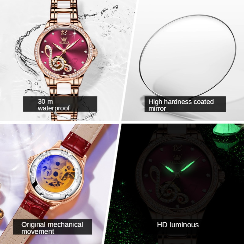 Automatic mechanical watch diamond-studded musical note literally hot-selling waterproof ladies watch ladies watch gift box enlarge
