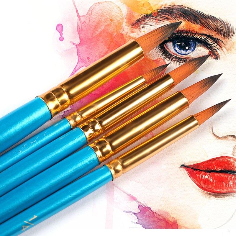5 pcs set watercolor brush pen nib round head blue short wood nylon hair gouache paint brush set art supplies for painting