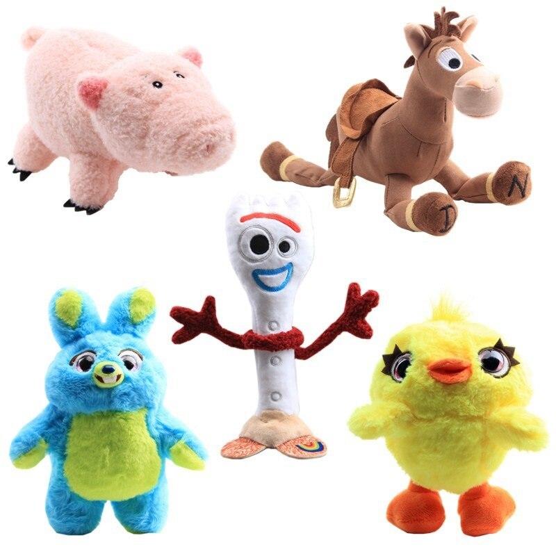 Toy Story 4 muñecas de peluche nuevo personaje 26cm conejo azul 18cm pato amarillo pato suave juguetes de peluche