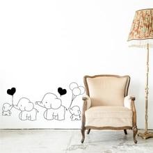 Cartoon Wall Sticker For Kids Room Elephant Balloon Heart Children Bedroom Stickers DIY Home Decorative Art Wall Poster