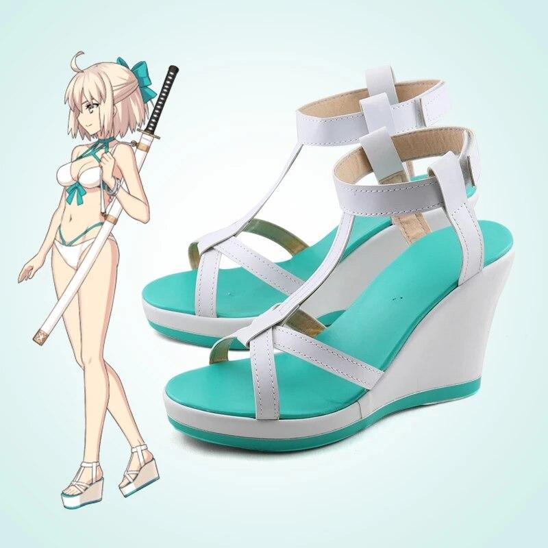 Sapatos de Verão Festa de Halloween Feitos sob Encomenda Jogo Fate Grand Order Okita Souji Personalizar Cosplay Anime Sandálias Sapatos Navio Livre Fgo