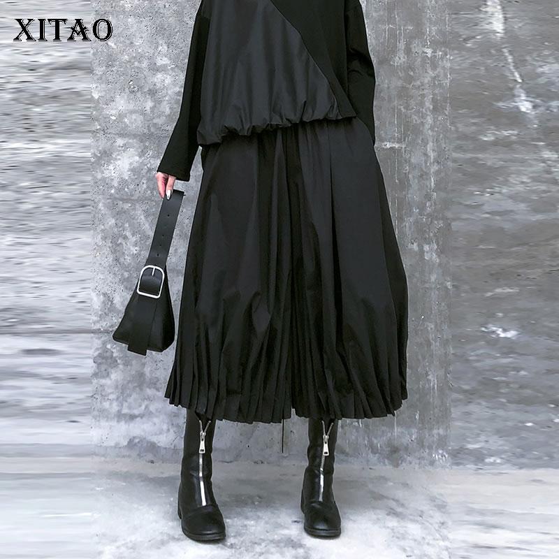 XITAO-بنطلون عالي الخصر بجيوب للنساء ، ملابس ربيعية جديدة ، فضفاض ، غير رسمي ، مرن ، متوافق مع جميع الأرجل الواسعة ، 2020 ، XJ3425