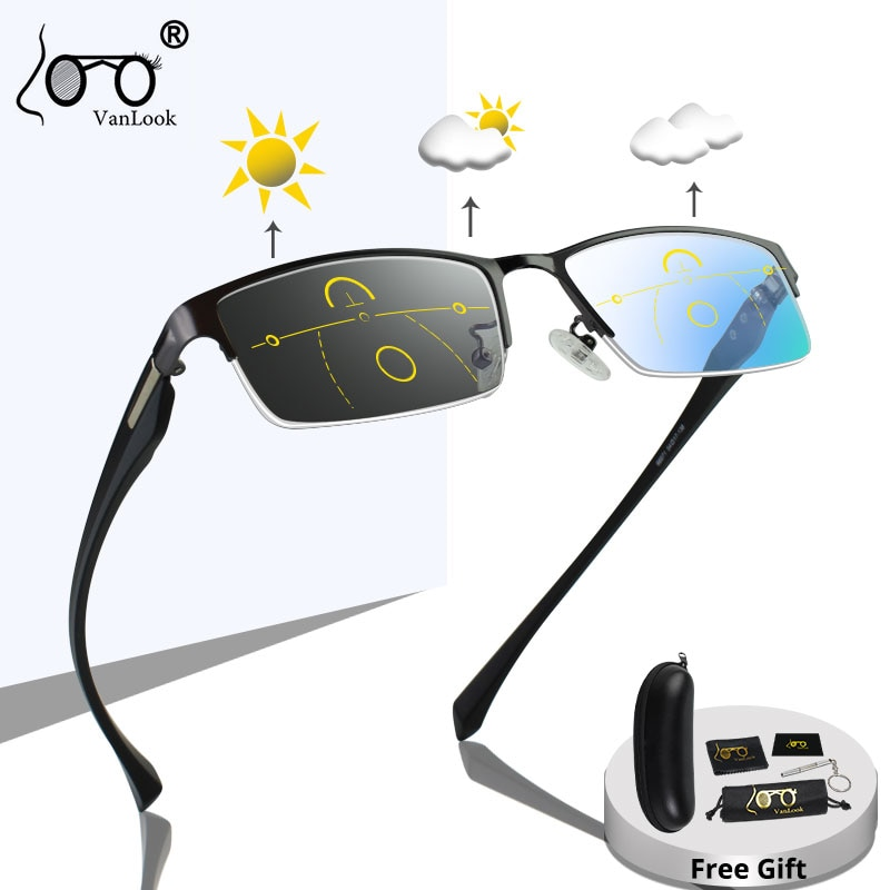 Progressive Multifocal Reading Glasses Frames Men Photochromic Sunglasses Chameleon Lens Metal Rectangular Eyeglasses Frame