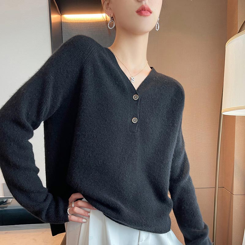 2021 woman winter 100% Cashmere sweaters knitted Pullovers jumper Warm Female V-neck blouse long sleeve clothing enlarge